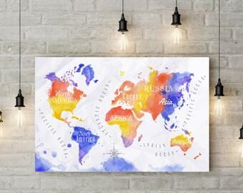 Office decor world map print watercolor world map poster wall art print