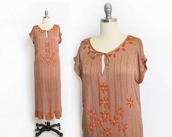 Vintage 1920s Dress - Brown Silk Floral Orange Beaded Flapper Deco - Small