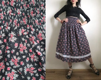 Full Floral Prairie Skirt, Black, White, Red Floral Calico, High Elasticated Waist, Lace Trim, Ditzy Cotton Midi Skirt, Small Medium S/M/L