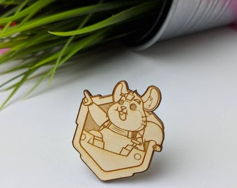 Hammond Overwatch Pin | Laser Cut Jewelry | Wood Accessories