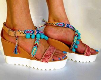 Boho Wedge Sandals, Cork Platform Sandals, Friendship Sandals, Pom pom Sandals, Leather Wedge Sandals ''Malika''
