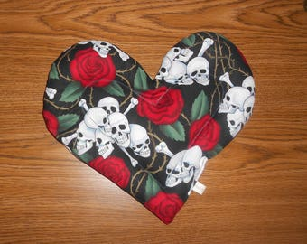 Microwavable Skull and Roses Heart Shaped Herbal Pack