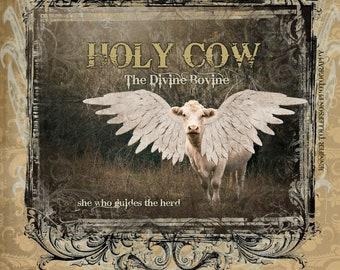 THE DIVINE BOVINE/18X12 Poster/Press Printed/Charolais Cow/Angel/Bible Verse