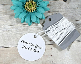 Custom Circle Favor Tags 20pc - White Circle Tags - Bridal Shower Tag - Wedding Favor Tags - White Round Tags - Personalized Circle Tag