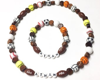 Sportball necklace and bracelet set for boys or girls Wood beaded Football Volleyball Tennis Golf Basketball Baseball Soccer Softball too