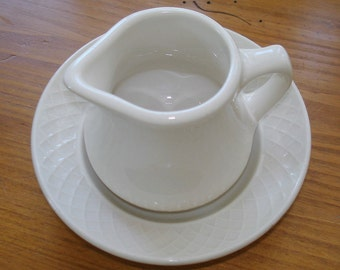 Homer Laughlin China Creamer with Under Plate Vintage Restaurant Quality Durability