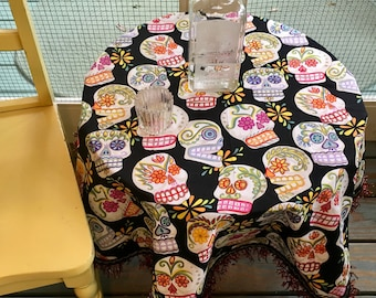 Day of the Dead Tablecloth Mexican Sugar Skulls Black Gold Red Sparkling Fringe
