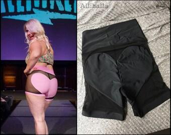 XL black on black MESH Big Heart Bike Shorts size Extra Large 16 18 20