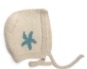 "Bonnet 100% baby alpaca ""Estrella"" blue for baby 3-12 months"