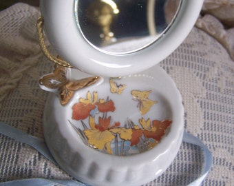 "Vintage 70's ""JEWELRY / RING HOLDER"" with Mirror Made in Japan."