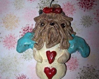 Folk Art Boutique Yorkshire Terrier Dog Snow Angel Yorkie Ornament Ooak Whimsical