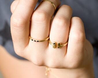 Open Ring, Black Stone Gold Ring, Silver Stackable Ring, Thin Ring, Knuckle Open Ring, Gold Midi Ring, 14k Stacking Ring, Rectangler Ring