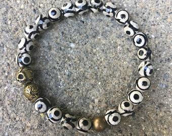 8mm mens skull bracelet evil eye beads agate mens beaded cross bracelet buddha jewelry