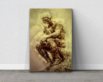 Bathroom Art, Bathroom Canvas, Sculpture, The Thinker, Fine Art Canvas, Modern Art Canvas, Funny Bathroom Art, Home Decor, Sculpture Decor