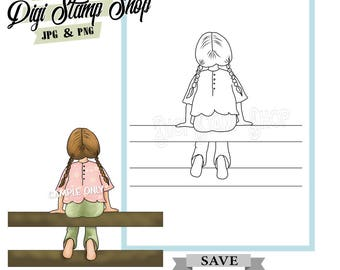 Girl on Fence Stamp, Digital Stamp, Girl Plat Stamp, Digi Stamp, Girl Stamp, Color In Page, Card Design, Lineart, Cute stamp,