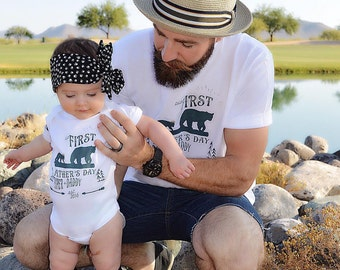First Father's Day Daddy and Me Set, Bear First Father's Day, Custom Bear First Father Day, Bear Father's Day Gift, First Father's Day Gift