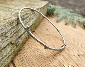 Silver Twig Bangle: Woodland Bangle, Silver Branch Bangle, Twig Bracelet, Nature Jewellery, Rustic Jewellery