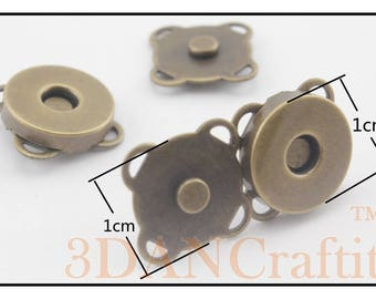 3 color to choose 20 sets of 10mm sew on purse magnetic snaps closure Nickel/brass/light gold