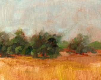 Small Painting - Landscape Oil Painting -  Farmland - Trees - California Landscape