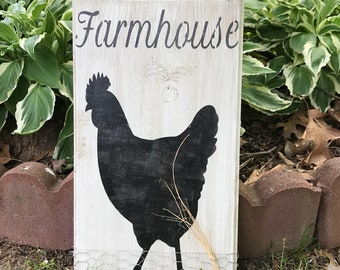 Chicken farmhouse 16x9 real wood country decor,rustic,vintage,farmhouse,gift idea