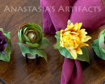 Summer Napkin Ring - Autumn Napkin Ring - Picnic - Flowers, Set of 4