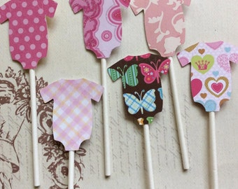 12 Adorable Baby Girl Onesis Cupcake toppers