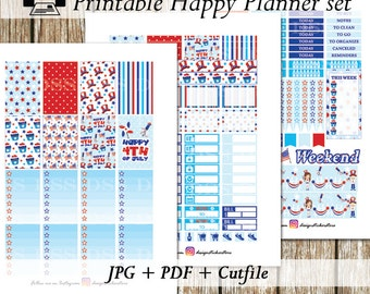 4th of July Happy Planner Stickers/Happy Planner Stickers/Printable Planner Stickers/Planner Stickers Printable/Planner Sticker