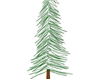 Pine Tree Machine Embroidery Design - Instant Download