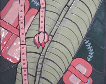 "Ceramic mosaic wall piece titled, ""Jungle"""