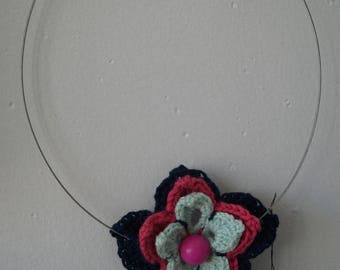 Blue and pink crochet Flower necklace