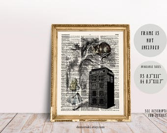 Alice in Wonderland, Alice Art, Cheshire Cat, Home Office Decor, Dictionary Art, Nursery Art