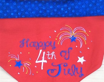Happy 4th of July embroidered/reversible dog bandana-summer dog bandana-4th of July-dog gift-dog birthday gift-patriotic bandana