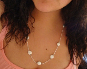 Forever Yours, Faithfully Bridal Collection - Woven Coin Pearls & Sterling Silver Eternity Necklace - Handmade by DORANA