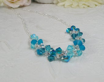 Swarovski Necklace Woven Turquoise Spiral Necklace Chain Necklace