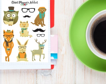 Hipster Animals Planner Stickers | Cute Animals | Animals Stickers | Hipster Stickers (S-037)