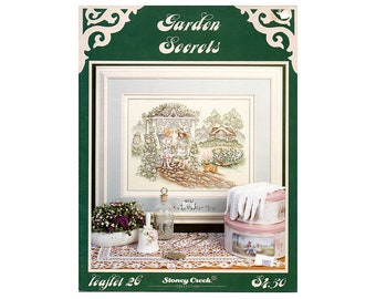 Garden Secrets Cross Stitch Leaflet, Floral Cross Stitch, Garden Cross Stitch, Children Cross Stitch, Stoney Creek, NewYorkTreasures on Etsy