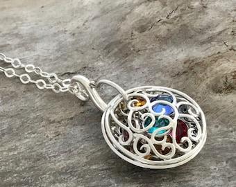Birthstone necklace personalized   Birthstone necklace for Mom   Sterling Silver   Mom Birthstone Necklace   Birthstone Filigree Locket
