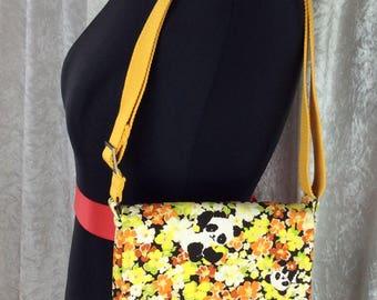 Handmade shoulder bag purse cross body bag The Jane fabric bag Pandas in Flowers