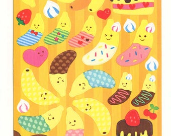 Kawaii Japan Sticker Sheet Assort: PAPER Banana Character Nicopy Chocolate Dipped Cake Sweets Dessert Sprinkles Fun Z
