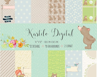 Baby Digital Paper Pack digital scrapbook paper newborn baby girl, Baby Boy digital scrapbook paper background teddy bear mouse,Bear digital