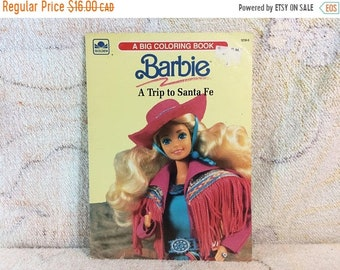 SUMMER SALE Barbie Visits Santa Fe Big Coloring Book For Kids Golden Vintage 1990 Paper Ephemera South Western