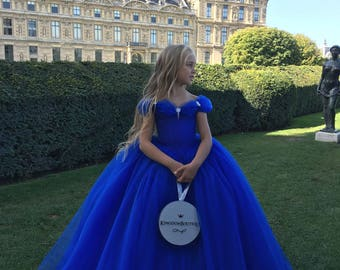 Beautiful Royal Blue Flower Girl Dress - Birthday Wedding Party Holiday Bridesmaid Royal Blue Tulle Flower Girl Dress 19-002