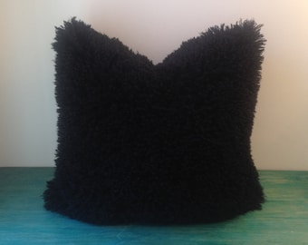 "Faux Fur Pillow Cover - 18"" x 18"" Black Mongolian Faux Fur Pillow Cover"
