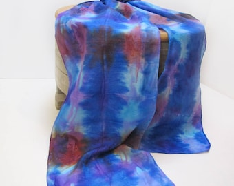 Hand-painted 100% Silk Scarf, Blue multi-color , Long Narrow
