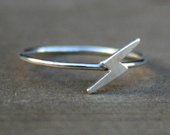 Sterling Silver Lightning Bolt Stacking Ring