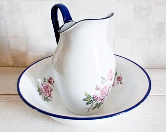 Amazing Antique Enamel Washing Pitcher And Basin || White and Blue Enamel Floral Decor - Shabby Chic Rustic French Country Decor