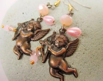 Brass Cherub Earrings