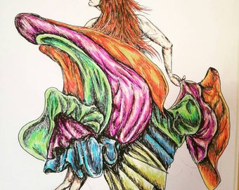 Rainbow Gypsy Dance Study, A4 Pen and Ink Original Illustration