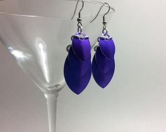 Purple scale earrings