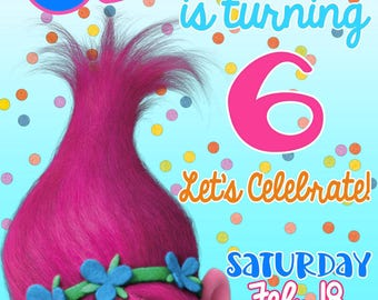 TROLLS Birthday Party Invitation- Quick Turnaround- Poppy Invitation- Pink and Aqua- Confetti